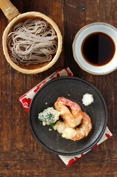 nouilles soba au tempura de crevettes