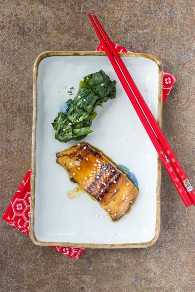 saumon teriyaki et épinards