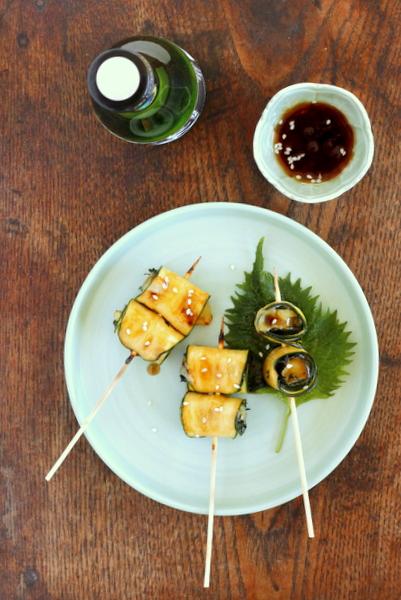 brochettes yakitori de courgette