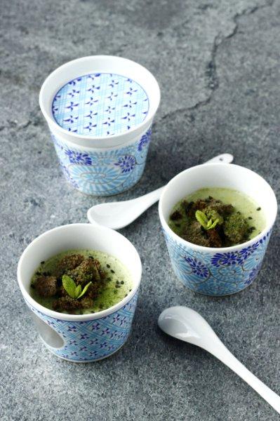 Dessert japonais au thé vert matcha