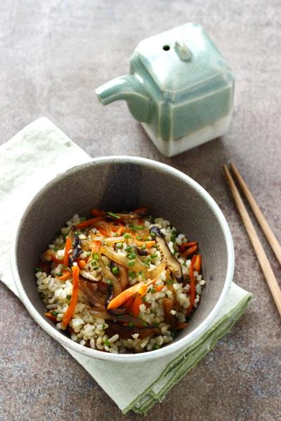 Recette konjac, riz et petits légumes au wok